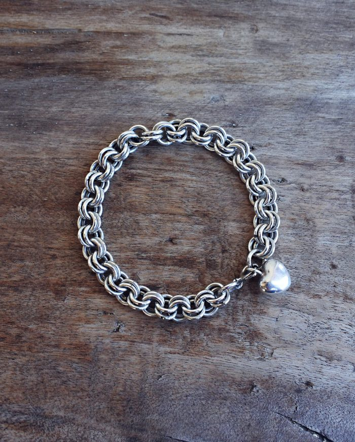 bracciale con maglie saldato a mano in argento 925