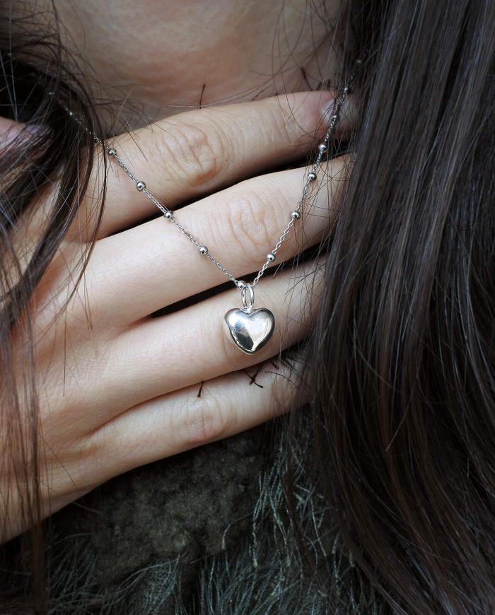collana catena rosario e cuore argento 925