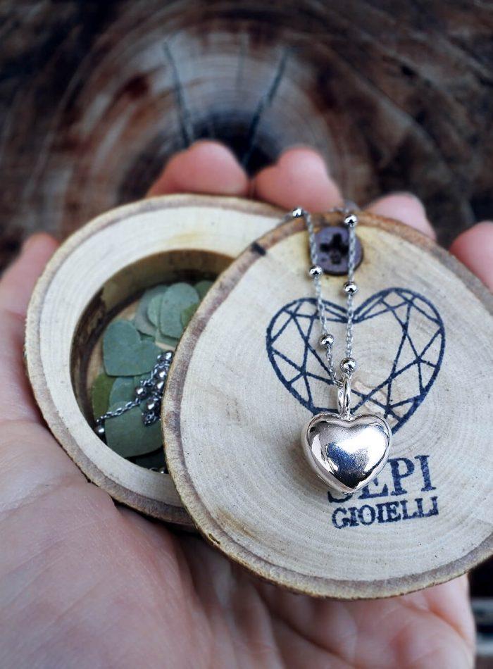 collana rosario cuore in argento 925